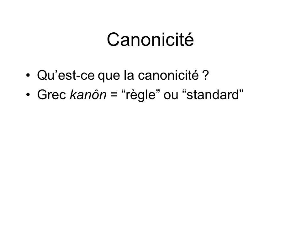 Canonicité Quest-ce que la canonicité Grec kanôn = règle ou standard