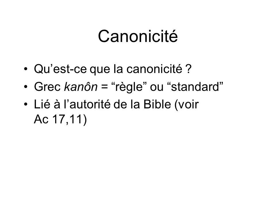 Canonicité Quest-ce que la canonicité ? Grec kanôn = règle ou standard Lié à lautorité de la Bible (voir Ac 17,11)