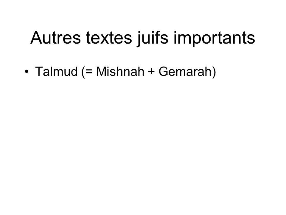 Autres textes juifs importants Talmud (= Mishnah + Gemarah)