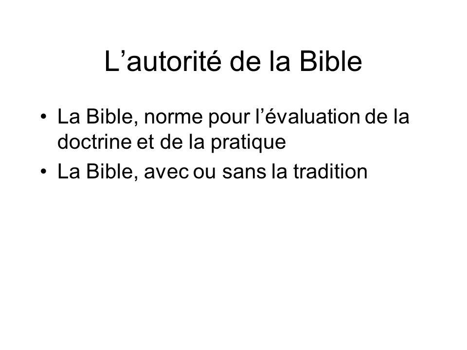 Lautorité de la Bible La Bible, norme pour lévaluation de la doctrine et de la pratique La Bible, avec ou sans la tradition