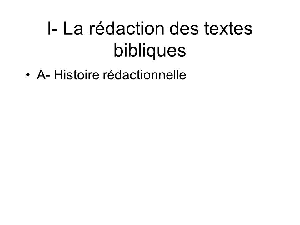 A- Histoire rédactionnelle