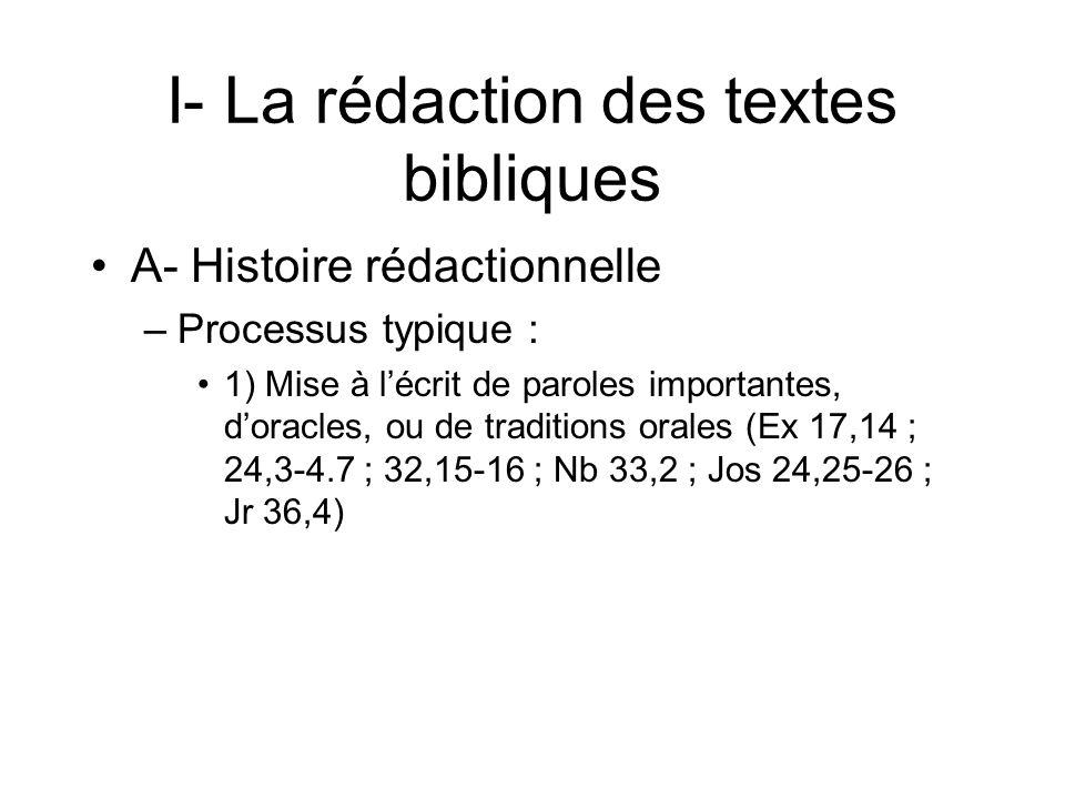 I- La rédaction des textes bibliques A- Histoire rédactionnelle –Processus typique : 1) Mise à lécrit de paroles importantes, doracles, ou de traditions orales (Ex 17,14 ; 24,3-4.7 ; 32,15-16 ; Nb 33,2 ; Jos 24,25-26 ; Jr 36,4)