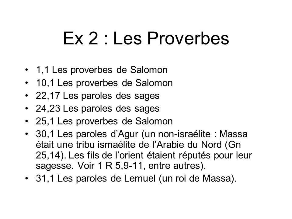 Ex 2 : Les Proverbes 1,1 Les proverbes de Salomon 10,1 Les proverbes de Salomon 22,17 Les paroles des sages 24,23 Les paroles des sages 25,1 Les proverbes de Salomon 30,1 Les paroles dAgur (un non-israélite : Massa était une tribu ismaélite de lArabie du Nord (Gn 25,14).