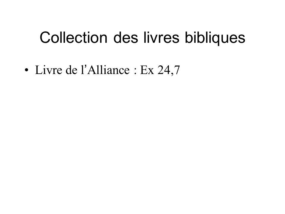 Collection des livres bibliques Livre de l Alliance : Ex 24,7