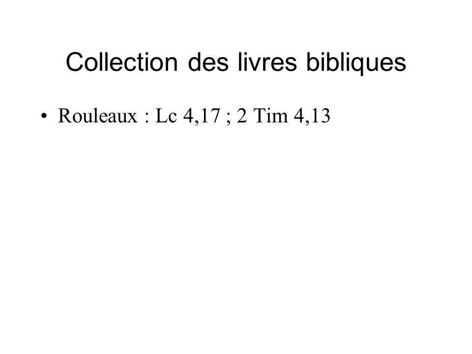 Collection des livres bibliques Rouleaux : Lc 4,17 ; 2 Tim 4,13