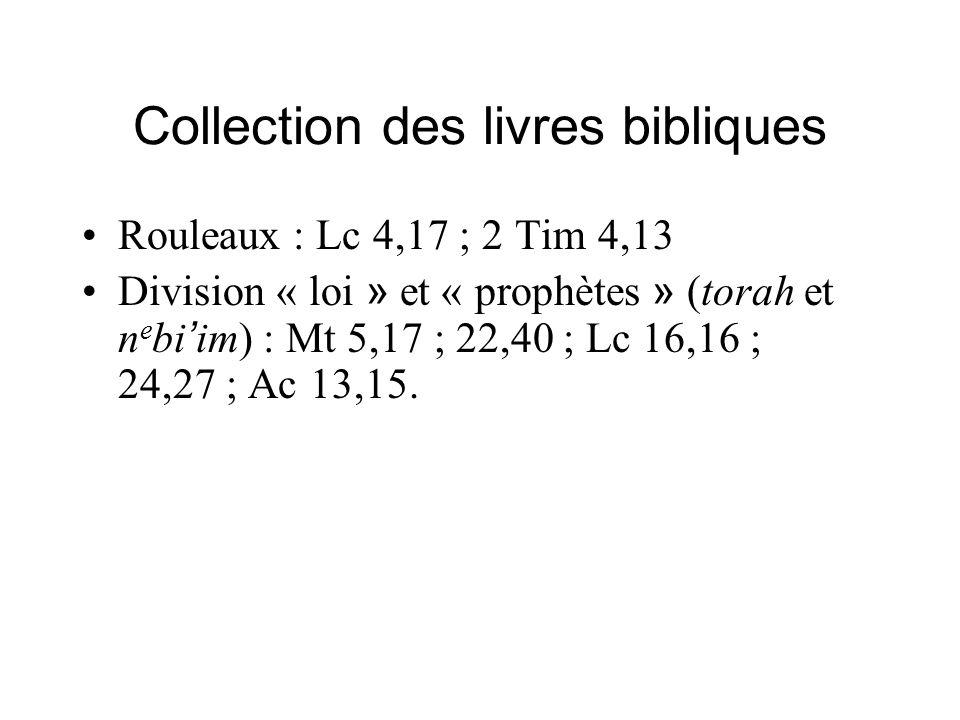 Collection des livres bibliques Rouleaux : Lc 4,17 ; 2 Tim 4,13 Division « loi » et « prophètes » (torah et n e bi im) : Mt 5,17 ; 22,40 ; Lc 16,16 ; 24,27 ; Ac 13,15.