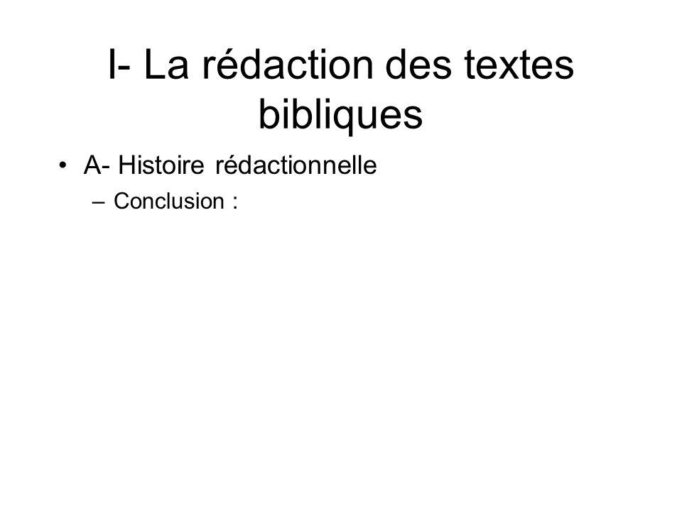 I- La rédaction des textes bibliques A- Histoire rédactionnelle –Conclusion :