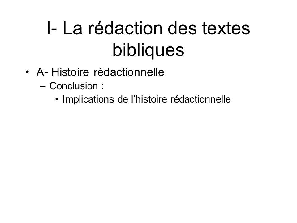 I- La rédaction des textes bibliques A- Histoire rédactionnelle –Conclusion : Implications de lhistoire rédactionnelle