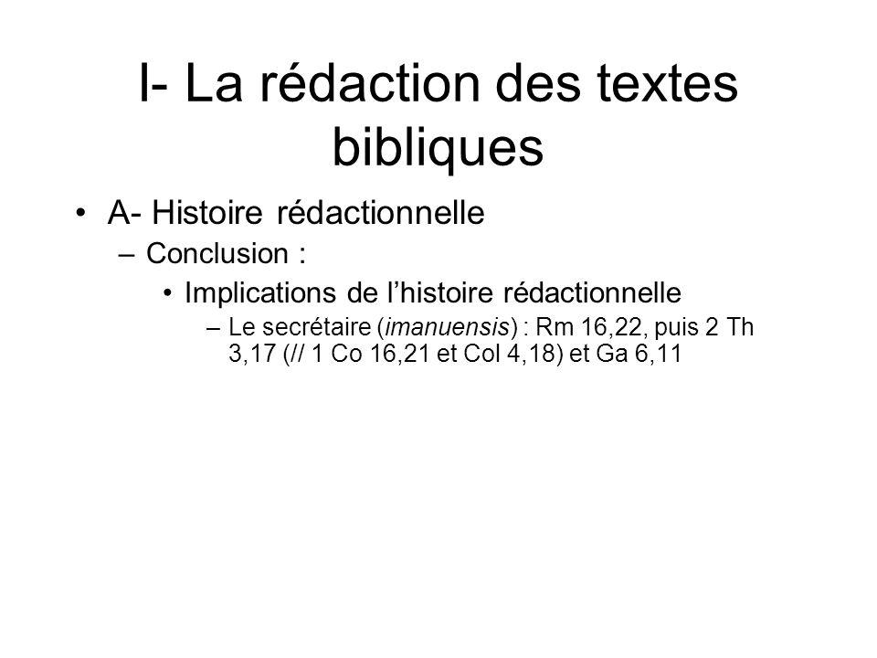 I- La rédaction des textes bibliques A- Histoire rédactionnelle –Conclusion : Implications de lhistoire rédactionnelle –Le secrétaire (imanuensis) : Rm 16,22, puis 2 Th 3,17 (// 1 Co 16,21 et Col 4,18) et Ga 6,11