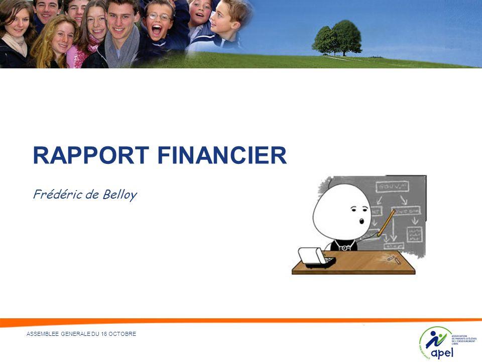 13 - NOM DU DÉPARTEMENT ÉMETTEUR ET/OU RÉDACTEUR - 20/04/2014 ASSEMBLEE GENERALE DU 16 OCTOBRE RAPPORT FINANCIER Frédéric de Belloy