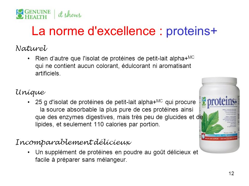 La norme d'excellence : proteins+ Naturel Rien dautre que l'isolat de protéines de petit-lait alpha+ MC qui ne contient aucun colorant, édulcorant ni