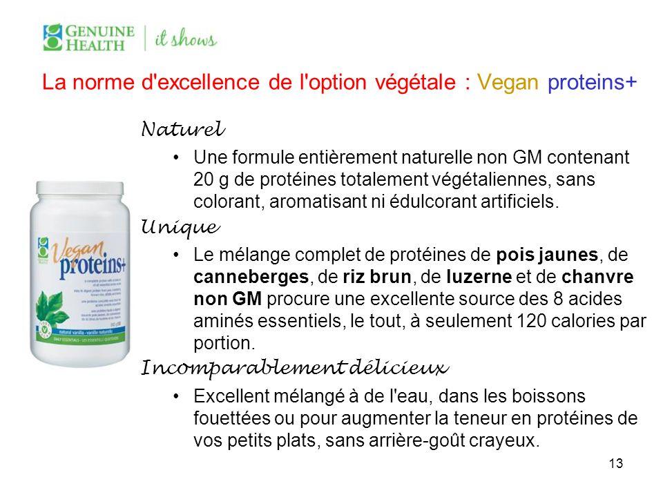 La norme d'excellence de l'option végétale : Vegan proteins+ Naturel Une formule entièrement naturelle non GM contenant 20 g de protéines totalement v