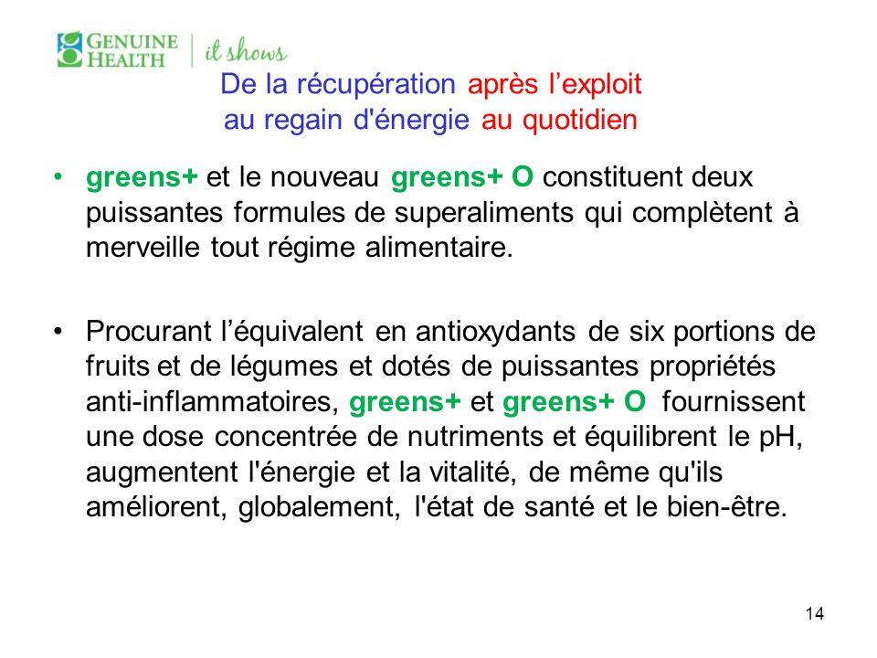 De la récupération après lexploit au regain d'énergie au quotidien greens+ et le nouveau greens+ O constituent deux puissantes formules de superalimen