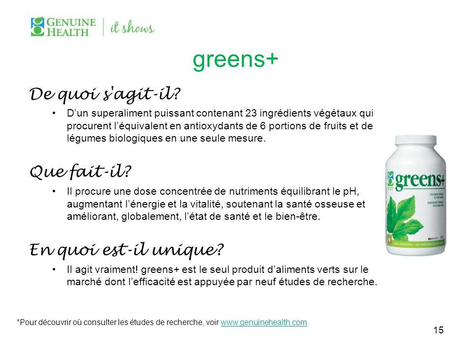 greens+ De quoi s'agit-il? Dun superaliment puissant contenant 23 ingrédients végétaux qui procurent léquivalent en antioxydants de 6 portions de frui