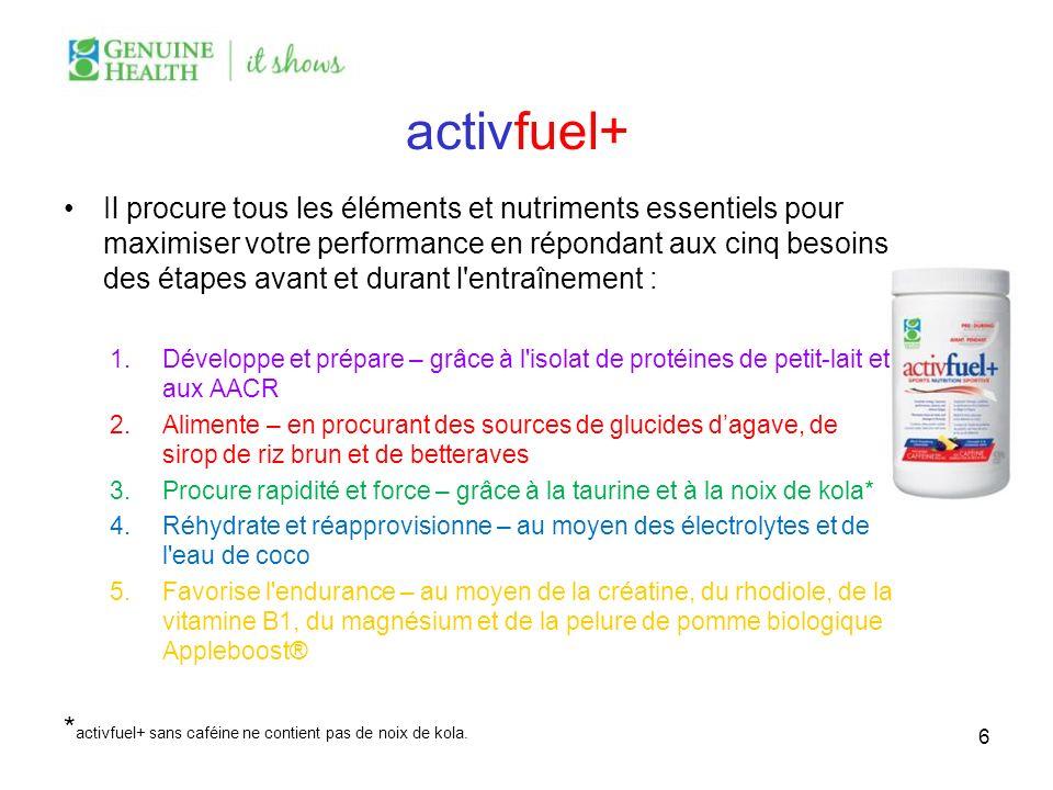 activfuel+ Il procure tous les éléments et nutriments essentiels pour maximiser votre performance en répondant aux cinq besoins des étapes avant et du