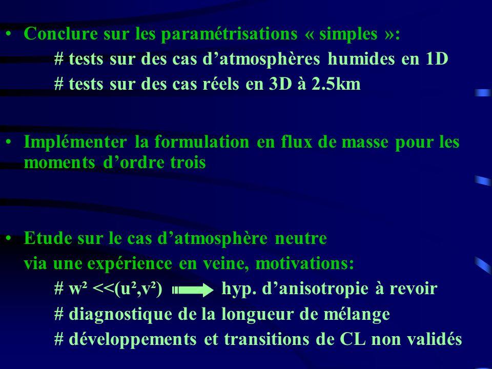Conclure sur les paramétrisations « simples »: # tests sur des cas datmosphères humides en 1D # tests sur des cas réels en 3D à 2.5km Implémenter la f