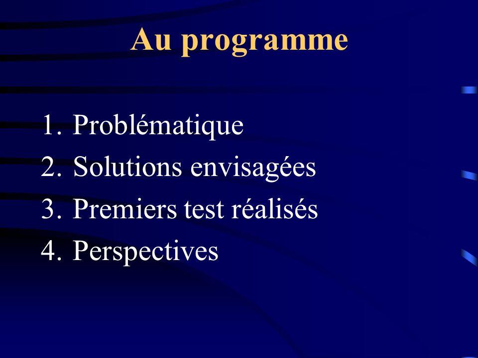 Au programme 1.Problématique 2.Solutions envisagées 3.Premiers test réalisés 4.Perspectives