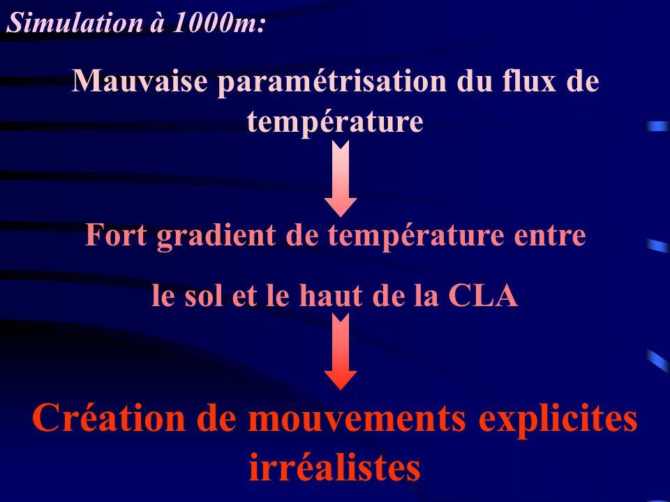 Simulation à 1000m: Mauvaise paramétrisation du flux de température Fort gradient de température entre le sol et le haut de la CLA Création de mouveme