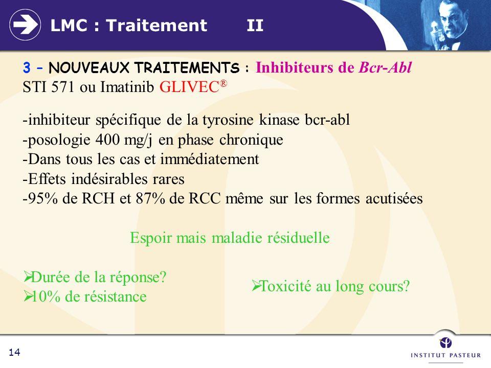 14 LMC : Traitement II 3 – NOUVEAUX TRAITEMENTS : Inhibiteurs de Bcr-Abl STI 571 ou Imatinib GLIVEC ® -inhibiteur spécifique de la tyrosine kinase bcr