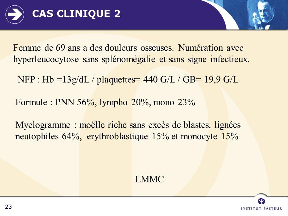 23 CAS CLINIQUE 2 Femme de 69 ans a des douleurs osseuses. Numération avec hyperleucocytose sans splénomégalie et sans signe infectieux. NFP : Hb =13g