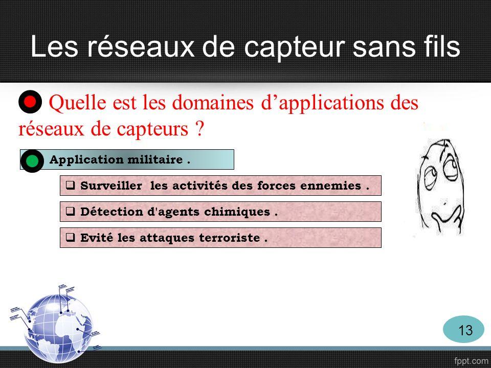 Les réseaux de capteur sans fils Quelle est les domaines dapplications des réseaux de capteurs ? Application militaire. Surveiller les activités des f