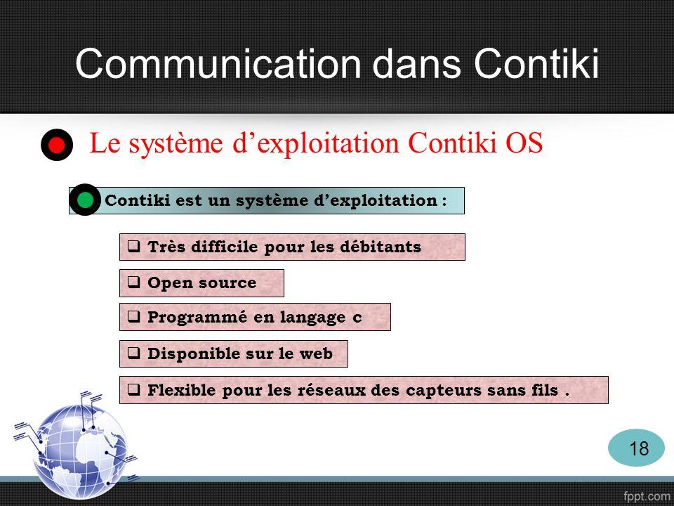 Le système dexploitation Contiki OS Contiki est un système dexploitation : Très difficile pour les débitants Open source Programmé en langage c Dispon