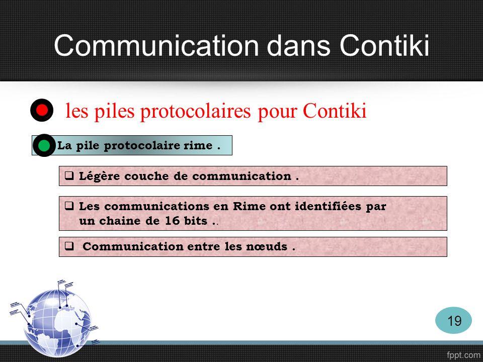 Communication dans Contiki les piles protocolaires pour Contiki La pile protocolaire rime. Légère couche de communication. Les communications en Rime