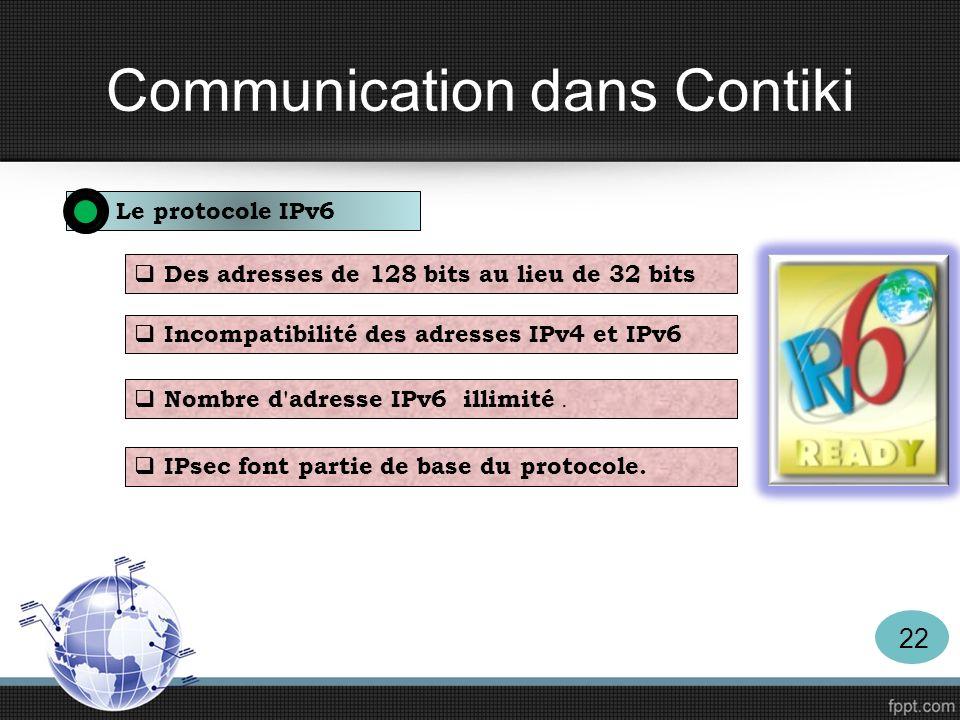 Communication dans Contiki Le protocole IPv6 Des adresses de 128 bits au lieu de 32 bits Incompatibilité des adresses IPv4 et IPv6 Nombre d'adresse IP