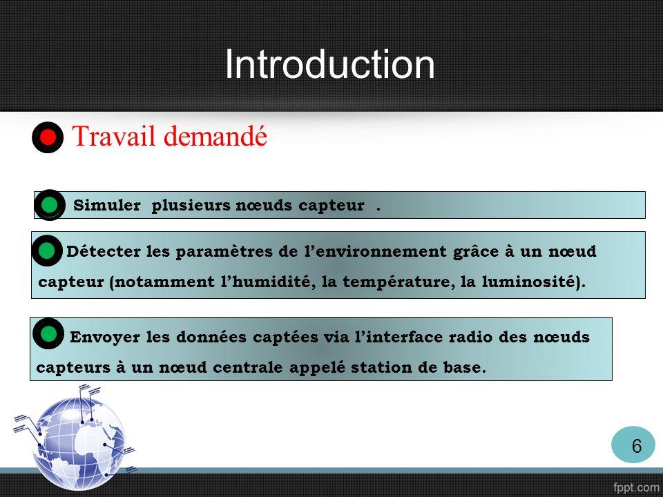 Introduction Travail demandé Simuler plusieurs nœuds capteur. Détecter les paramètres de lenvironnement grâce à un nœud capteur (notamment lhumidité,