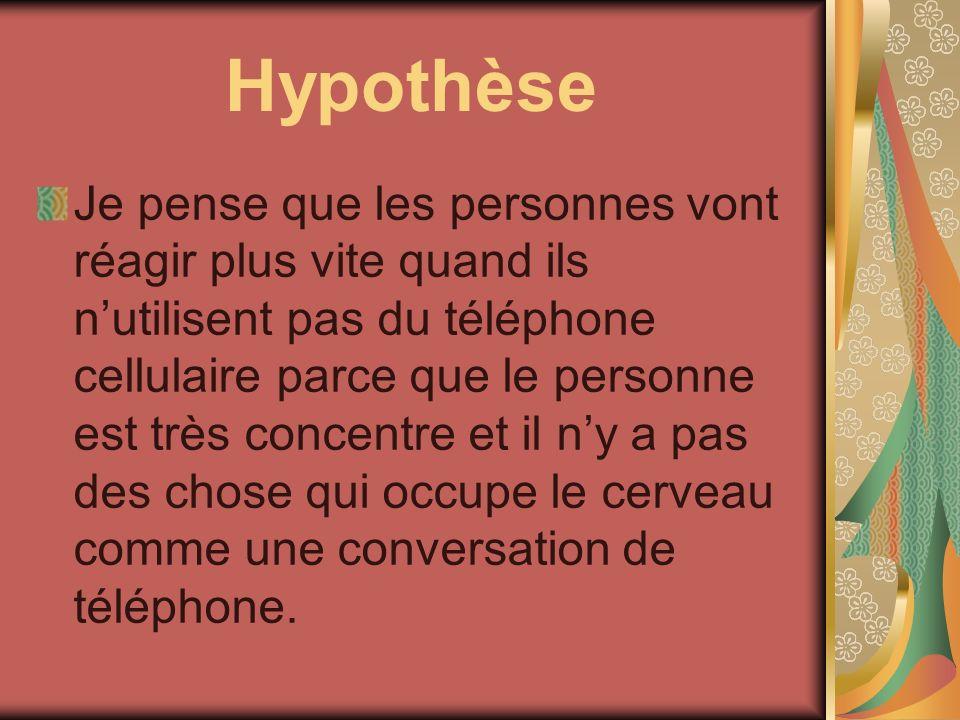 Hypothèse Je pense que les personnes vont réagir plus vite quand ils nutilisent pas du téléphone cellulaire parce que le personne est très concentre e