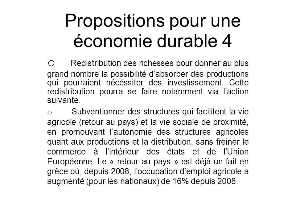 Propositions pour une économie durable 4 o Redistribution des richesses pour donner au plus grand nombre la possibilité dabsorber des productions qui pourraient nécéssiter des investissement.