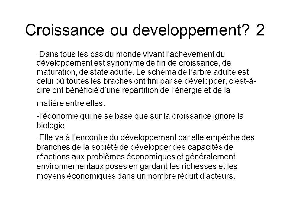 Croissance ou developpement? 2 -Dans tous les cas du monde vivant lachèvement du développement est synonyme de fin de croissance, de maturation, de st