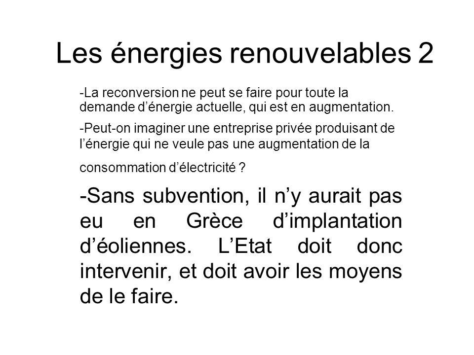 Les énergies renouvelables 2 -La reconversion ne peut se faire pour toute la demande dénergie actuelle, qui est en augmentation. -Peut-on imaginer une