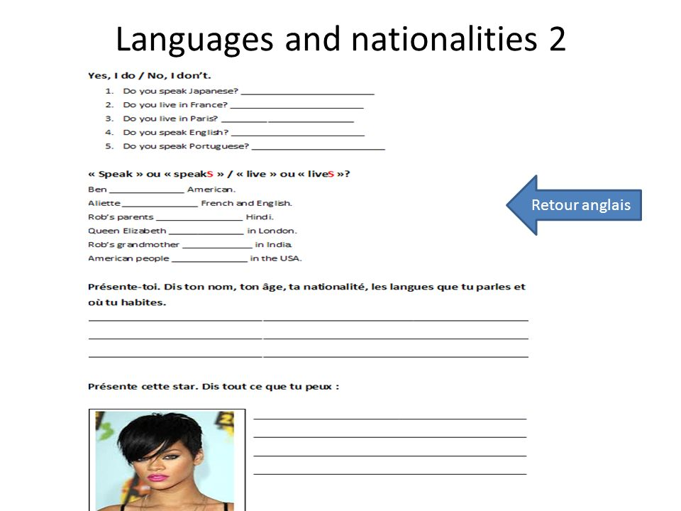 Languages and nationalities 2 Retour anglais