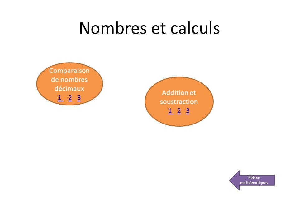 Nombres et calculs Retour mathématiques Comparaison de nombres décimaux 1 1 2 323 Addition et soustraction 1 1 2 323