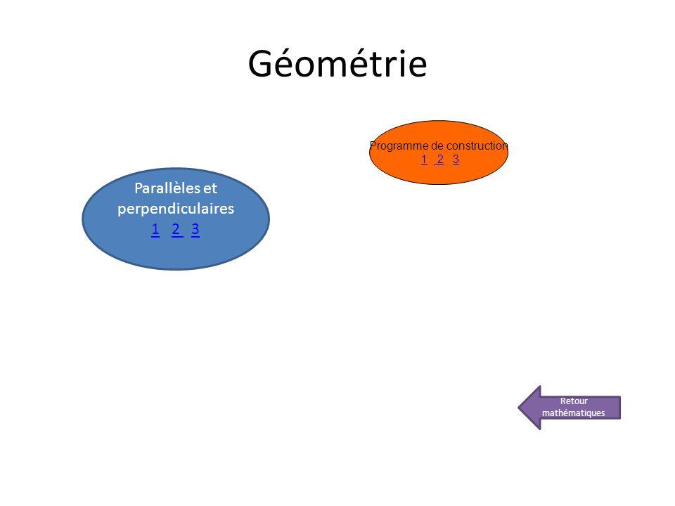 Géométrie Retour mathématiques Parallèles et perpendiculaires 11 2 32 3 Programme de construction 1 2 31 23