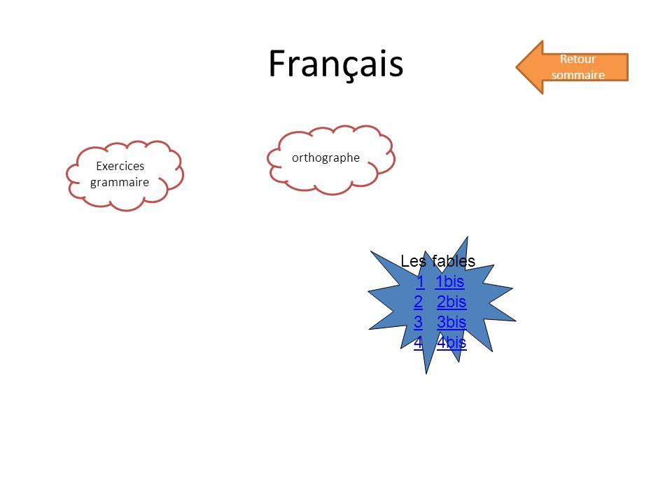 Français Retour sommaire Exercices grammaire orthographe Les fables 11 1bis1bis 22 2bis2bis 33 3bis3bis 44 4bis4bis