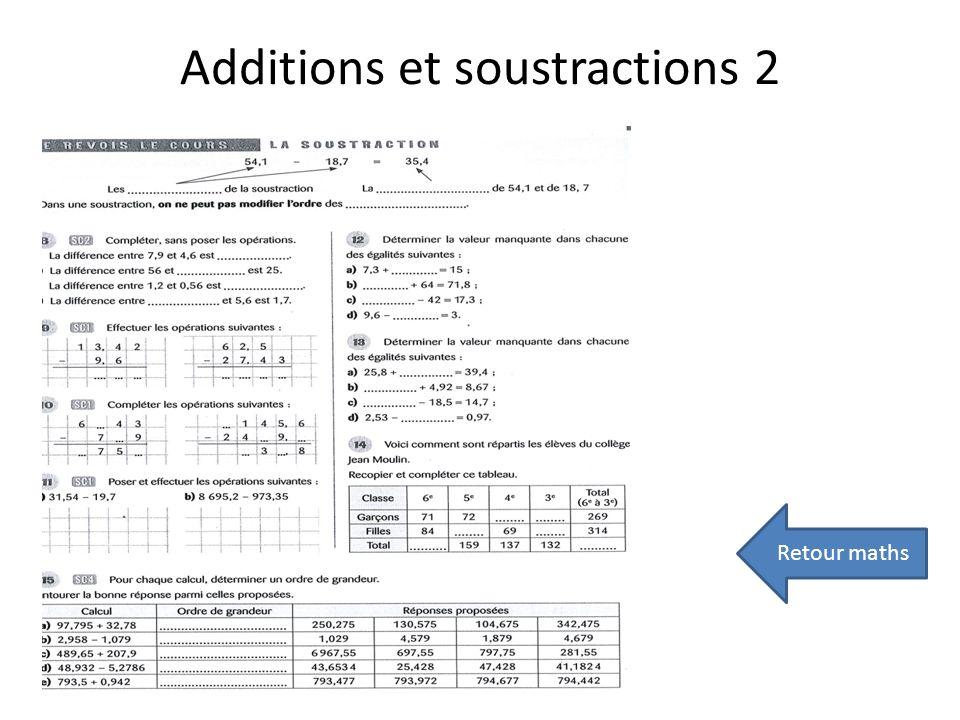 Additions et soustractions 2 Retour maths