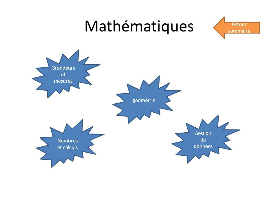 Mathématiques Retour sommaire Nombres et calculs géométrie Grandeurs et mesures Gestion de données