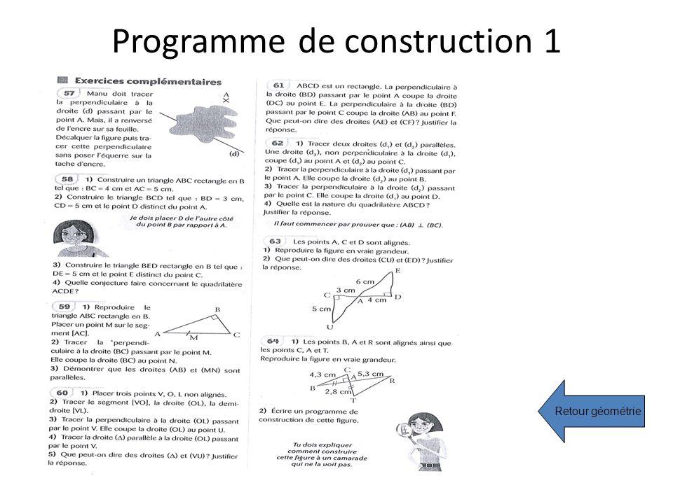 Programme de construction 1 Retour géométrie