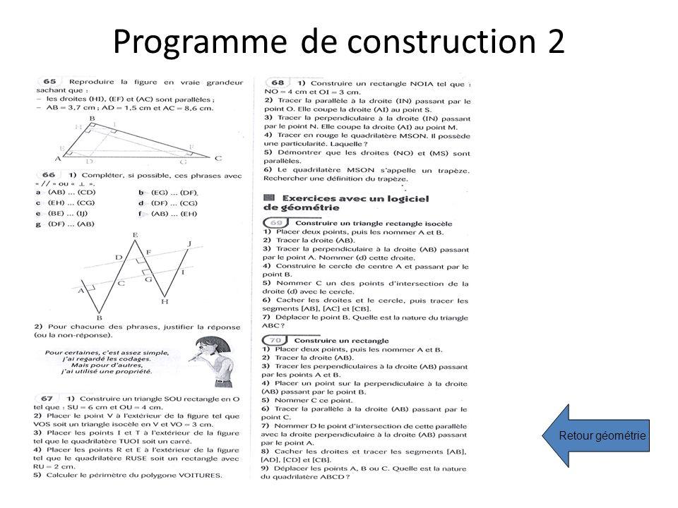 Programme de construction 2 Retour géométrie