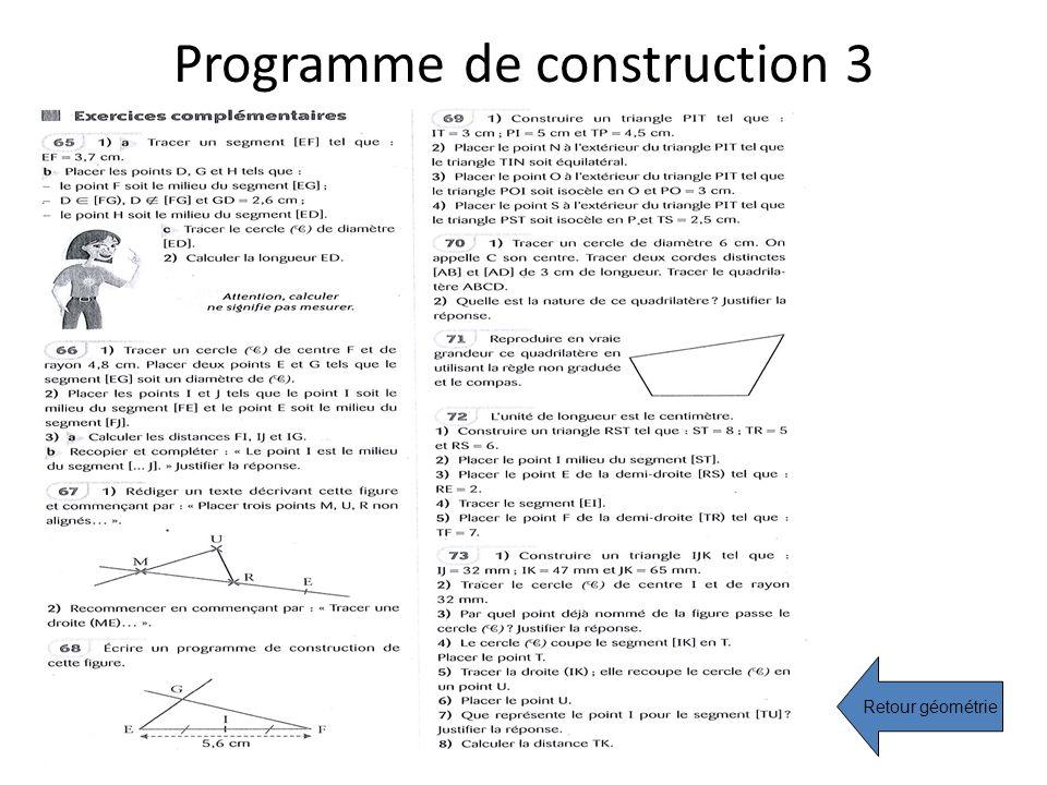Programme de construction 3 Retour géométrie