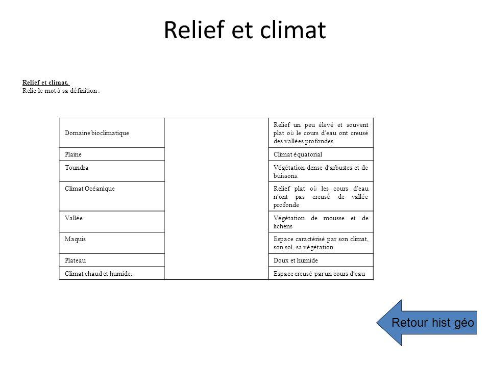 Relief et climat Relief et climat. Relie le mot à sa d é finition : Domaine bioclimatique Relief un peu é lev é et souvent plat o ù le cours d eau ont