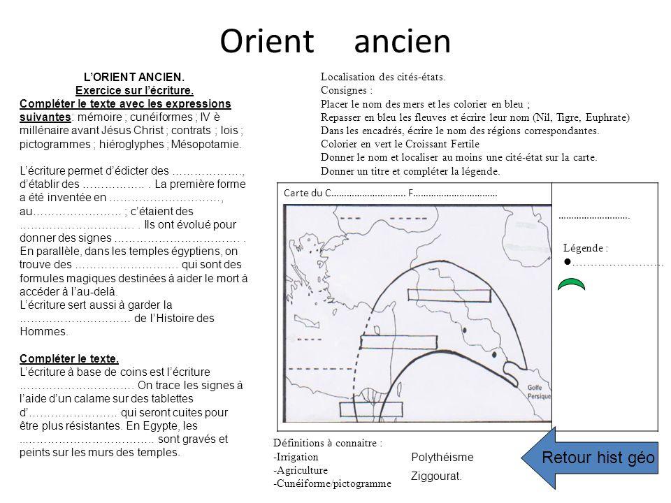 Orient ancien LORIENT ANCIEN. Exercice sur lécriture. Compléter le texte avec les expressions suivantes: mémoire ; cunéiformes ; IV è millénaire avant