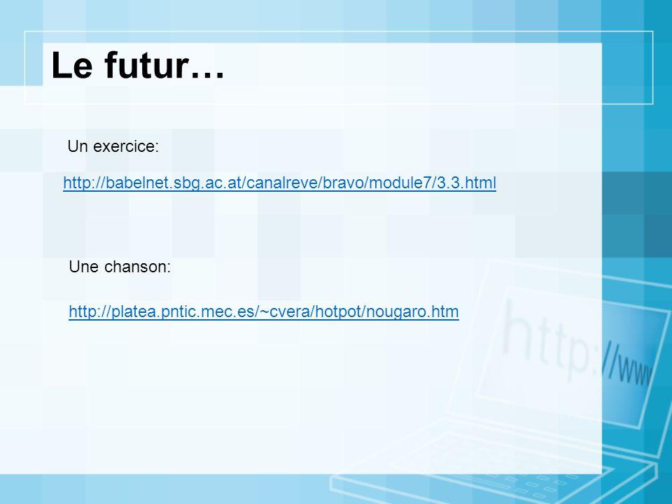 http://platea.pntic.mec.es/~cvera/hotpot/nougaro.htm http://babelnet.sbg.ac.at/canalreve/bravo/module7/3.3.html Le futur… Un exercice: Une chanson: