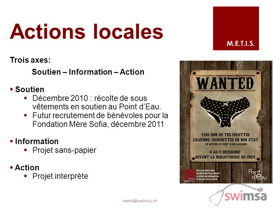Actions locales Trois axes: Soutien – Information – Action Soutien Décembre 2010 : récolte de sous vêtements en soutien au Point dEau. Futur recruteme