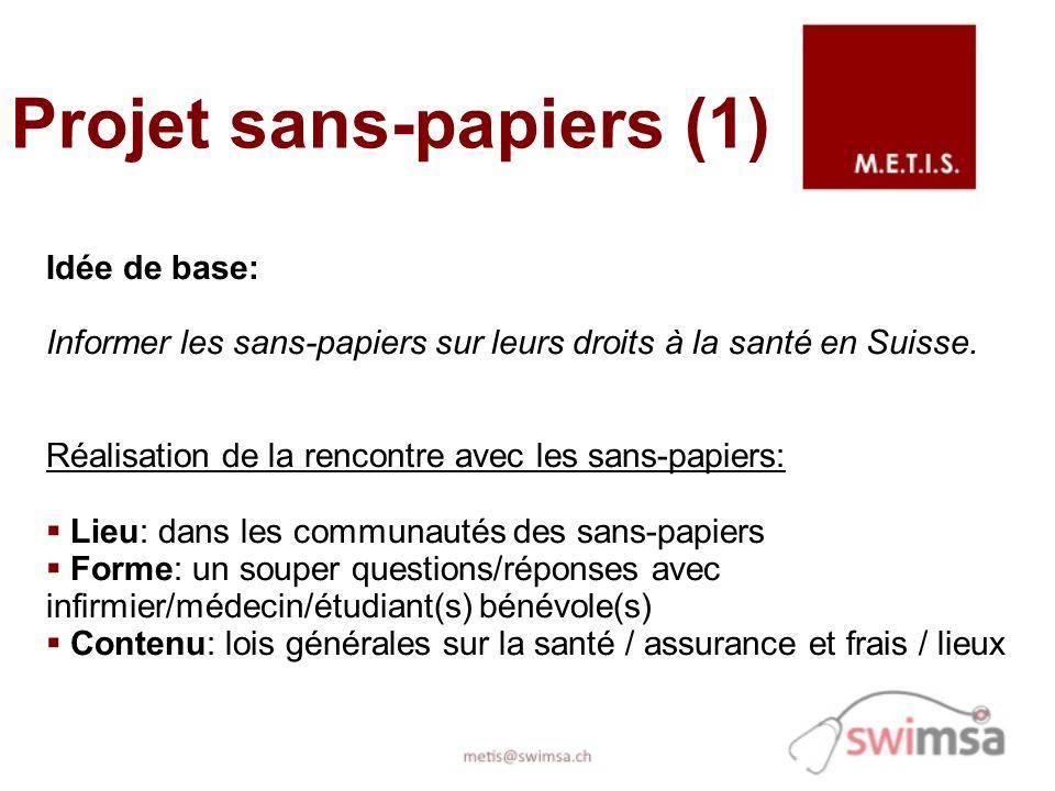 Projet sans-papiers (1) Idée de base: Informer les sans-papiers sur leurs droits à la santé en Suisse. Réalisation de la rencontre avec les sans-papie