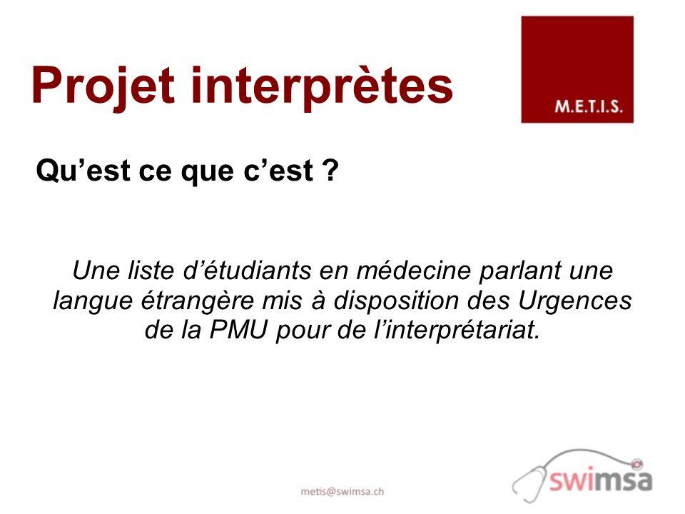 Projet interprètes Quest ce que cest ? Une liste détudiants en médecine parlant une langue étrangère mis à disposition des Urgences de la PMU pour de