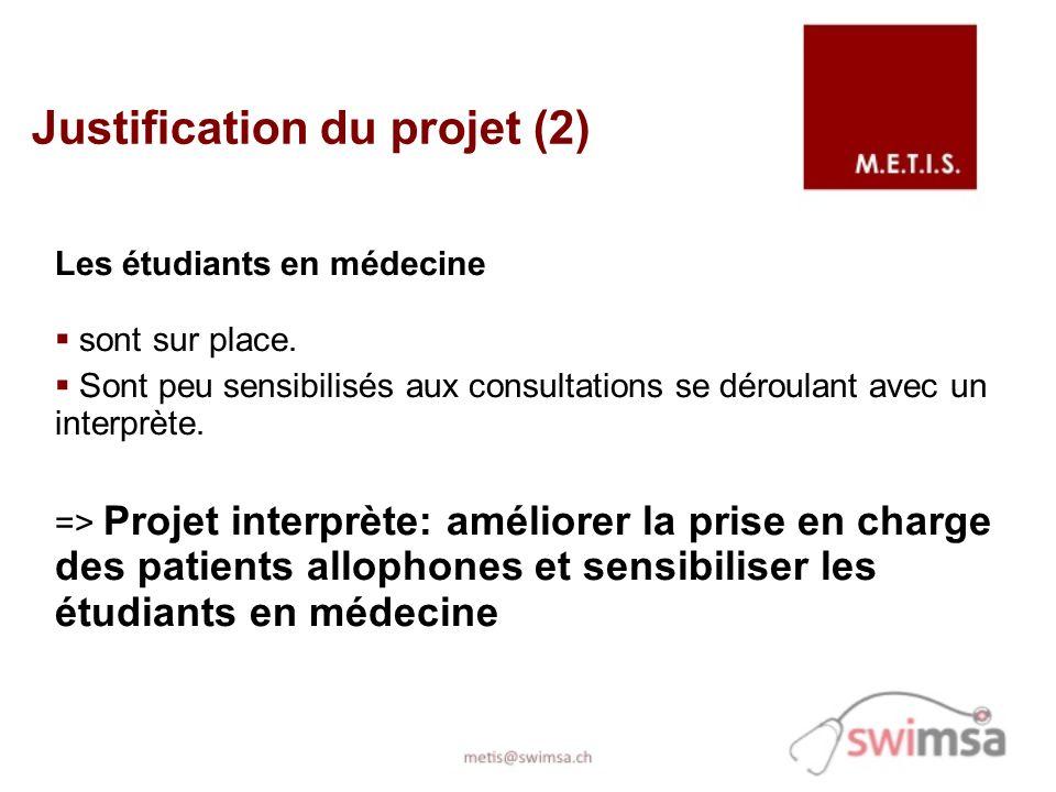 Les étudiants en médecine sont sur place. Sont peu sensibilisés aux consultations se déroulant avec un interprète. => Projet interprète: améliorer la