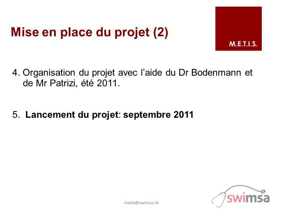 Mise en place du projet (2) 4. Organisation du projet avec laide du Dr Bodenmann et de Mr Patrizi, été 2011. 5. Lancement du projet: septembre 2011